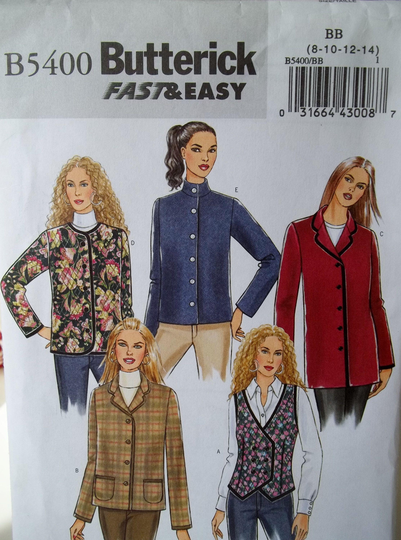 Misses Jacket Vest Butterick B5400 Sewing Pattern Unlined Vest