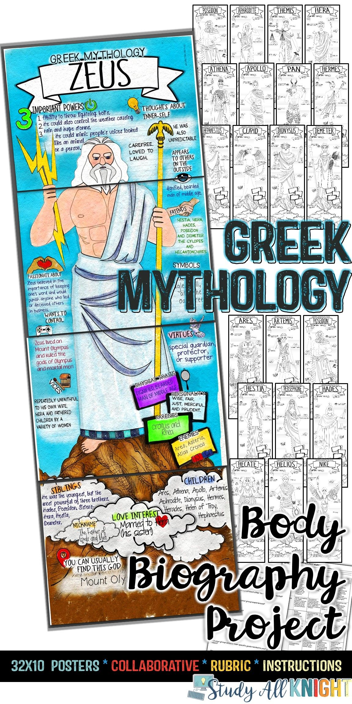 Greek Gods Greek Mythology Body Biography Project Bundle