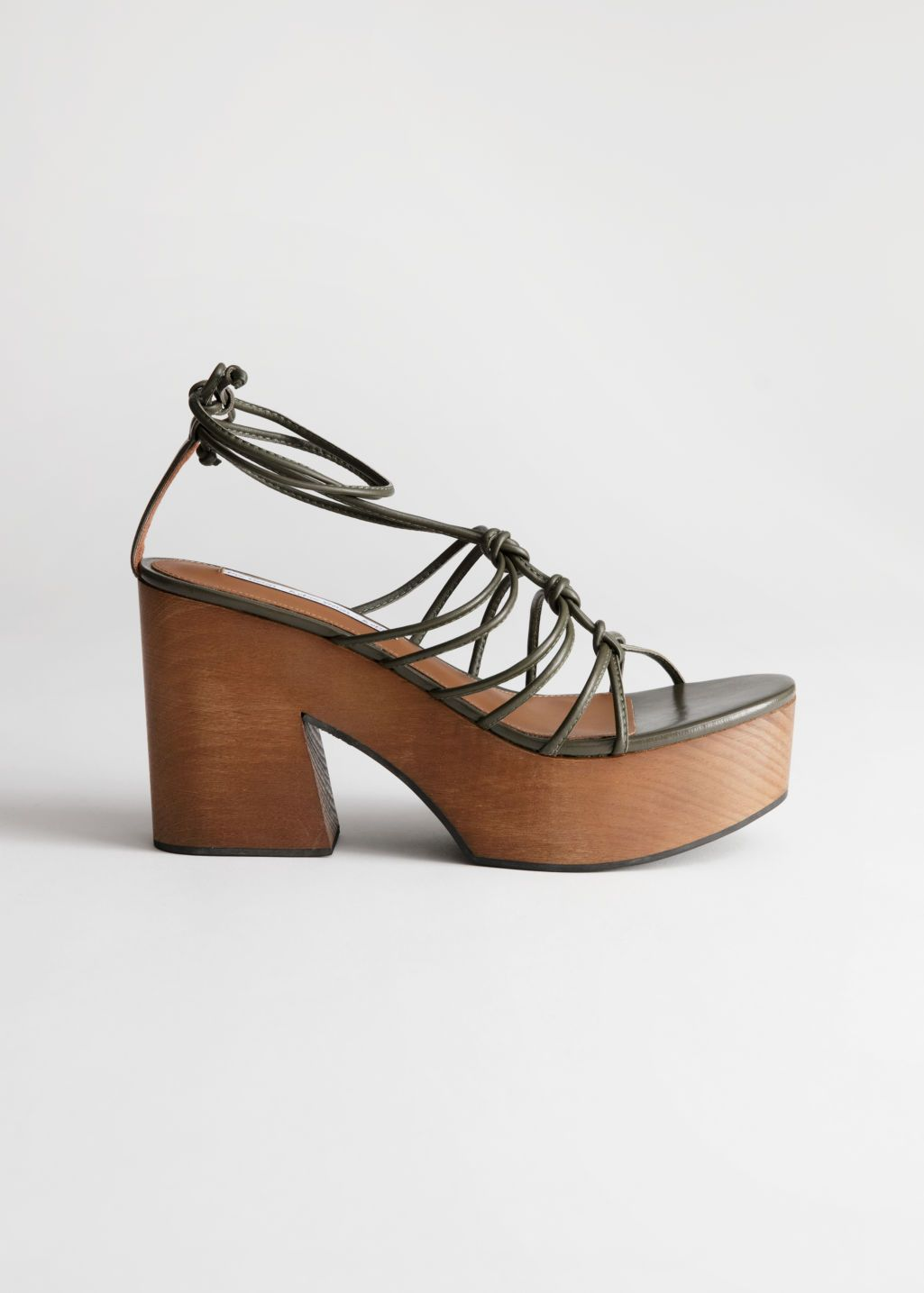 Lace Up Wooden Platforms Khaki High heels & Other