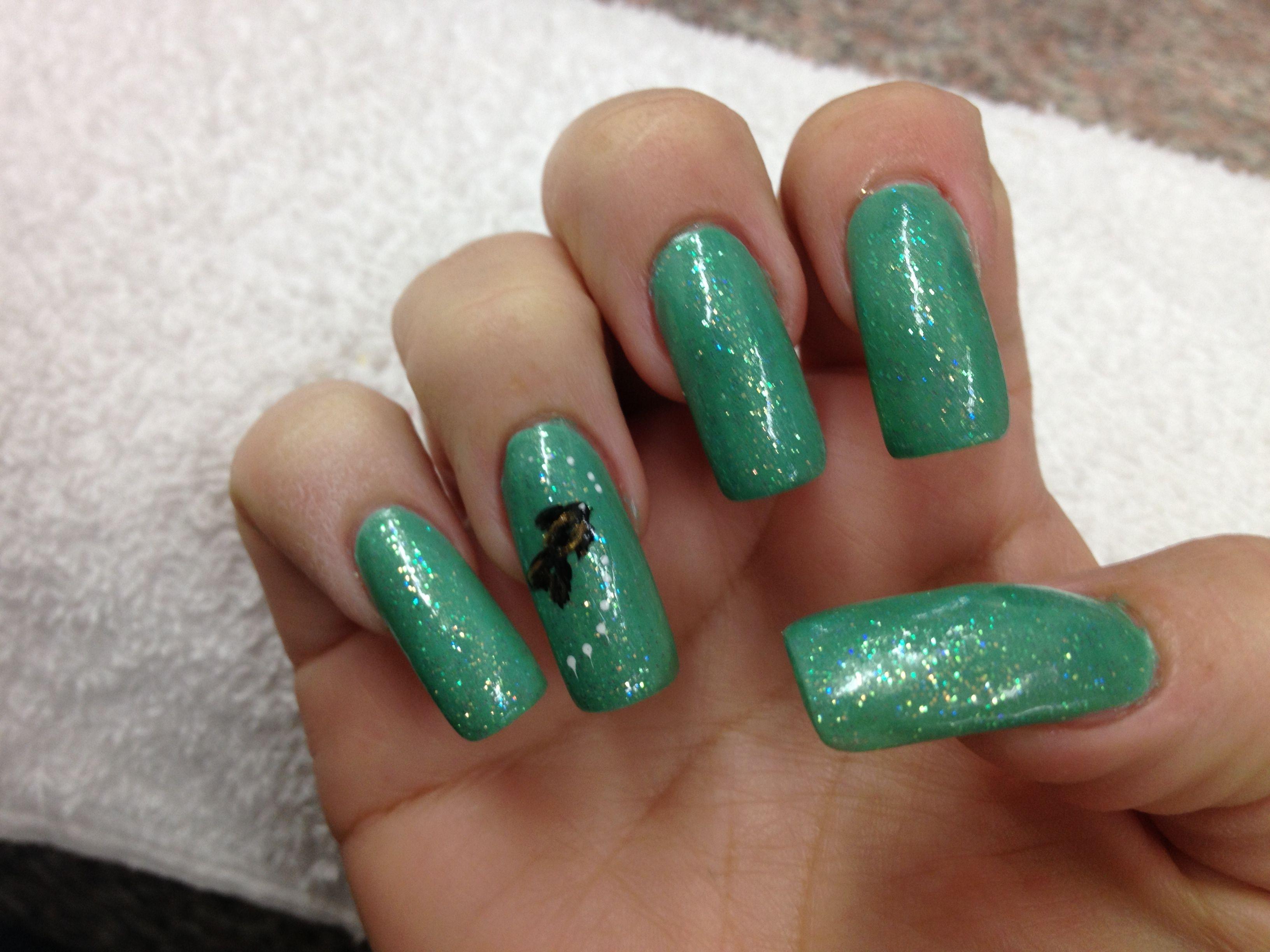 Teal Fish design | Nail designs | Pinterest