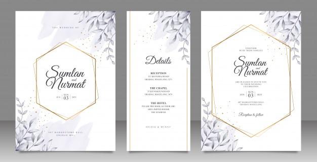 Golden Geometric Frame Wedding Card Set Template With Leaves Watercolor Desain Undangan Undangan Desain