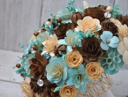 Blush Blue and Brown Wedding Bouquet or Centerpiece Decoration ...