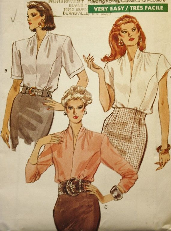 1980s Misses\' Loose Fitting Blouse Vintage Sewing Pattern Vogue 7331 ...