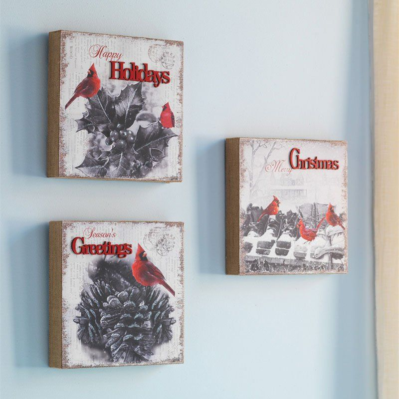 Melrose Cardinal Christmas Canvases   Set Of 3   Christmas Home Decor At  Hayneedle