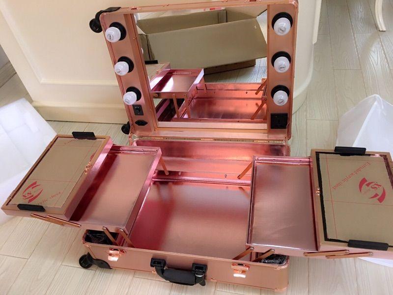 Rose Golden Led White Lights Studio Wheeled Professional Beauty Box Trolley Makeup Case Organizer With L Makeup Case Organization Makeup Box Case Makeup Case