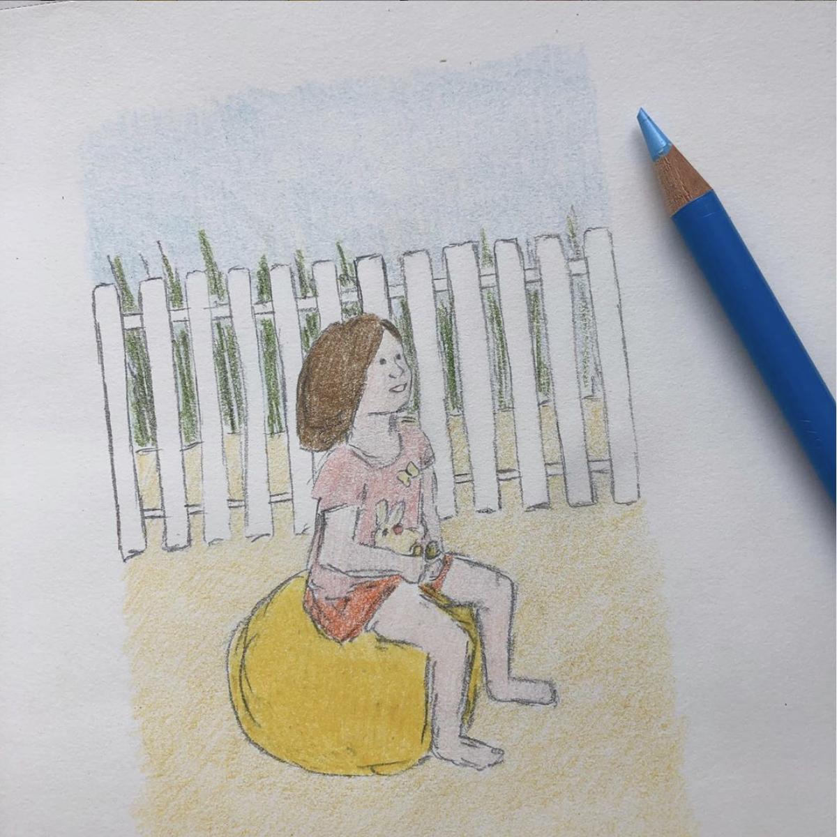 Dessin de ma fille à la plage avec un ballon sauteur / Zeichnung von meiner Tochter am Strand auf einem Hüpfball 🏖 #plage #ete #petitefille #jouer #ballonsauteur #illustration #crayondecouleurs #huepfball #strand #sand #beach #fun #plaisir #spass #illustrationenfant