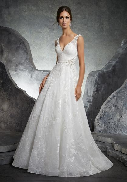 65fe5d0948f Blu by Morilee 5614 Kalista Floral Embroidered A-Line Wedding Dress ...
