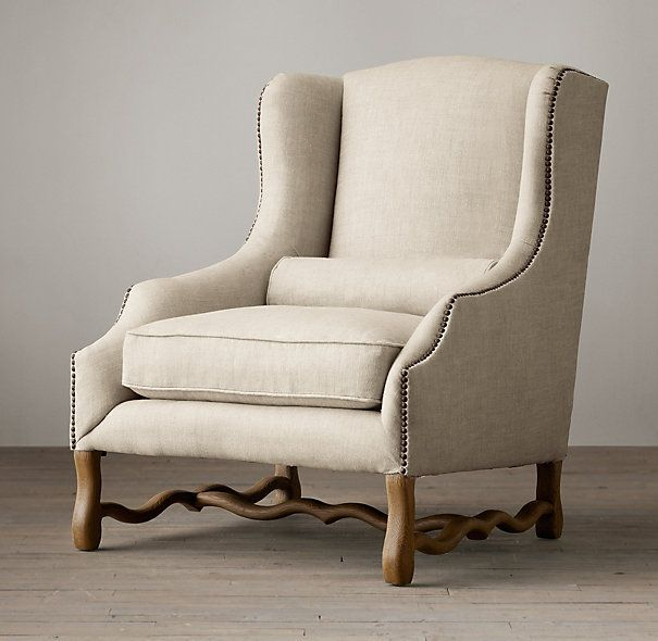 Delicieux 17th Century French Upholstered Wing Chair, Restoration Hardware