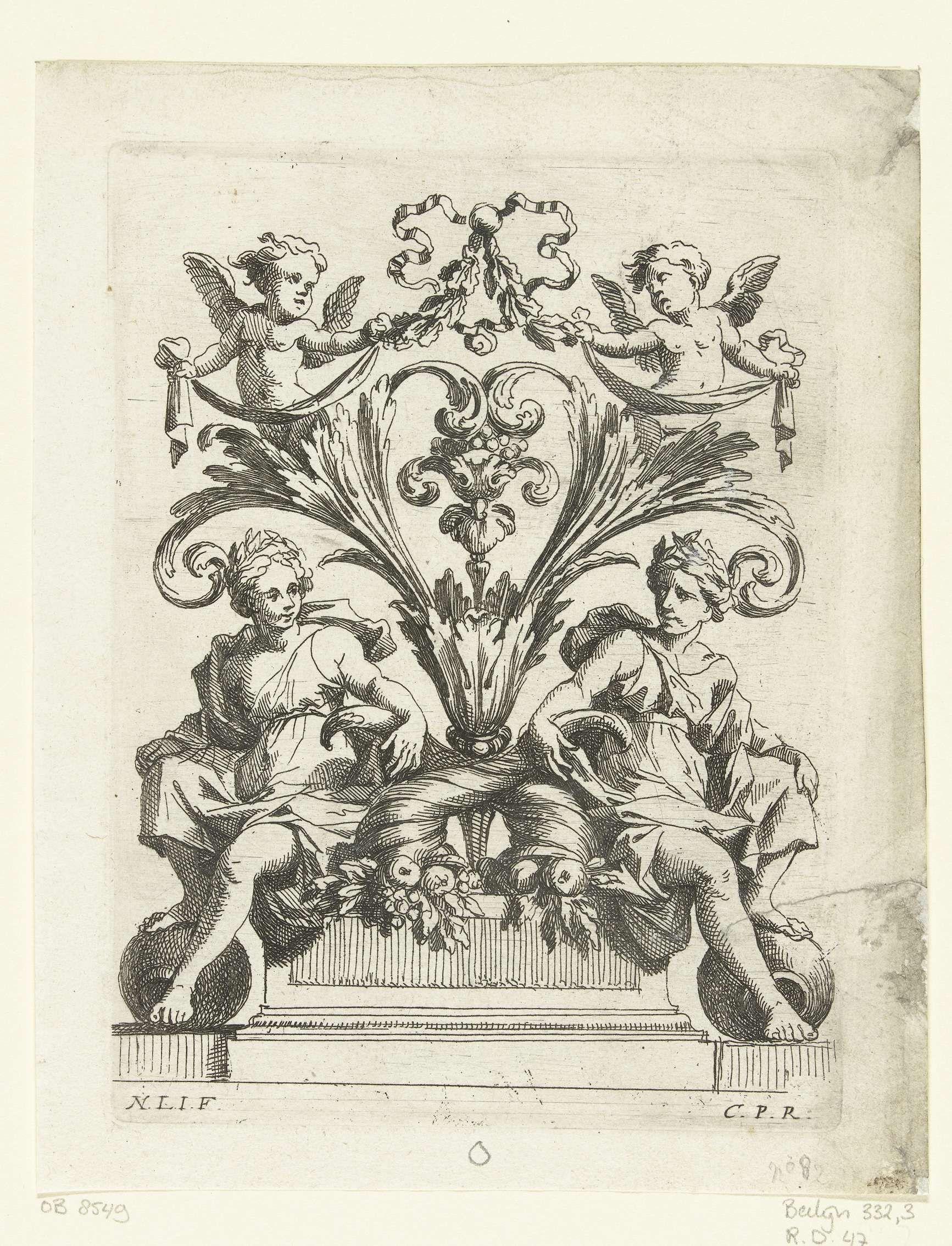 Nicolas Pierre Loir | Twee vrouwen zittend op voetstuk, Nicolas Pierre Loir, c. 1660 - c. 1670 | Beide vrouwen dragen een lauwerkrans en leunen op een hoorn des overvloeds. Blad 2 uit serie van 12.