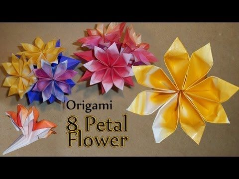 ▶ Origami 8 Petal Flower - YouTube