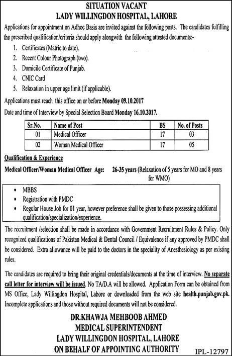 Lady Willingdon Hospital Jobs  In Lahore For Medical Officer