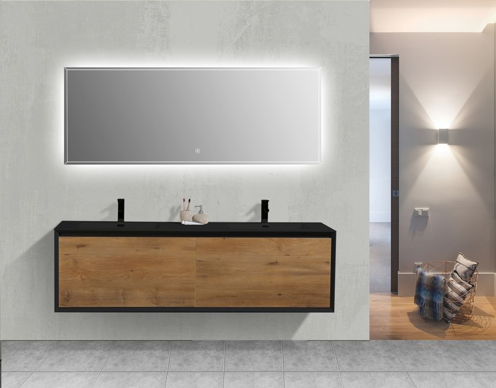 Modern Double Sink Bathroom Vanity Aquamoon Icon Collection With Led Mirror Modern Bathroom Sink Double Sink Bathroom Vanity Double Sink Bathroom