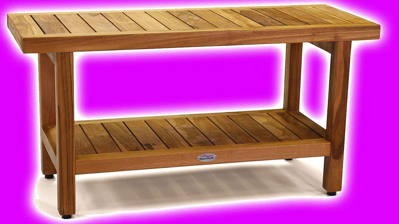 Aquateak the original spa teak shower bench with shelf in