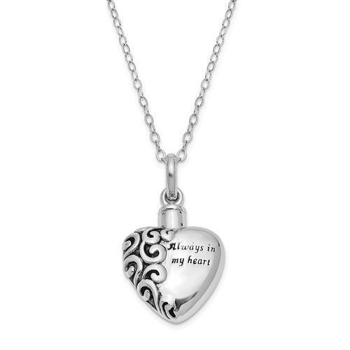 Sterling Silver Antiqued Heart Remembrance Ash Holder 18in Necklace