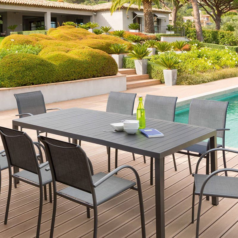 Table de jardin Aluminium Piazza (210 x 100 cm) - Gris ...