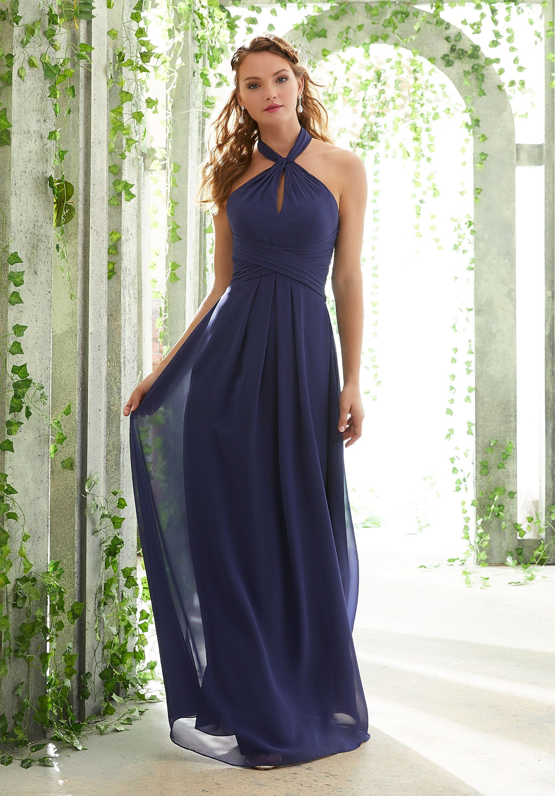 78b2f9014a885 Morilee Bridesmaids 21616 Chiffon Halter with Low Back Bridesmaids Dre –  Off White