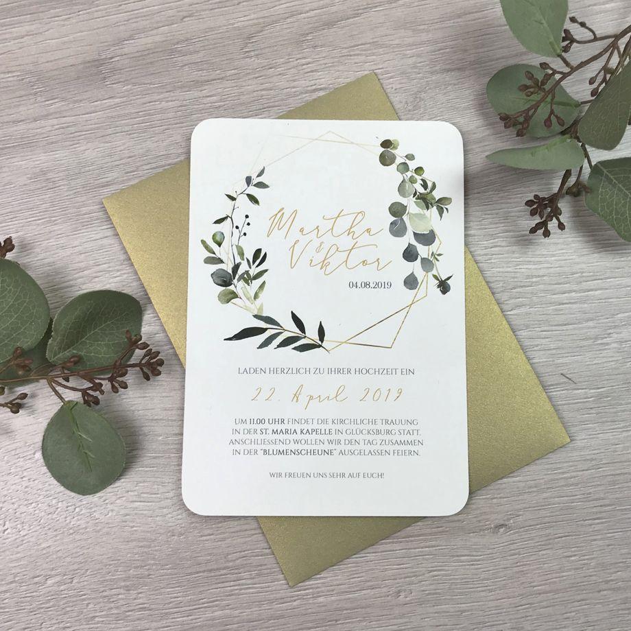 Hochzeitseinladung im bohostil kombination aus gold und