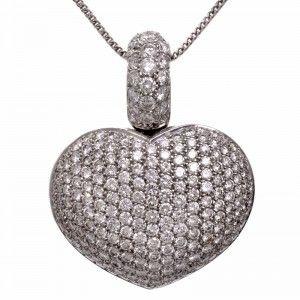 12.00ct Large Diamond Cluster Heart-Shape 18k Gold Pendant Signed Gioiel Moda | Dover Jewelry