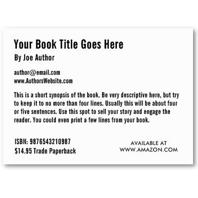 Book Promotion Trading Card Template Business Card  Business