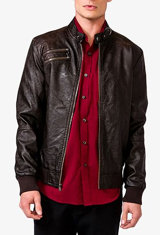 Quilted Faux Leather Jacket | 21 MEN 2022500005 sale 33.95