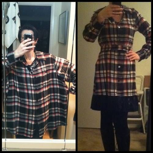 Now I know what to do with his old flannels  Super Cute Dress from a Mens  XXXL Flannel Shirt - CLOTHING 68e95a7f23da2