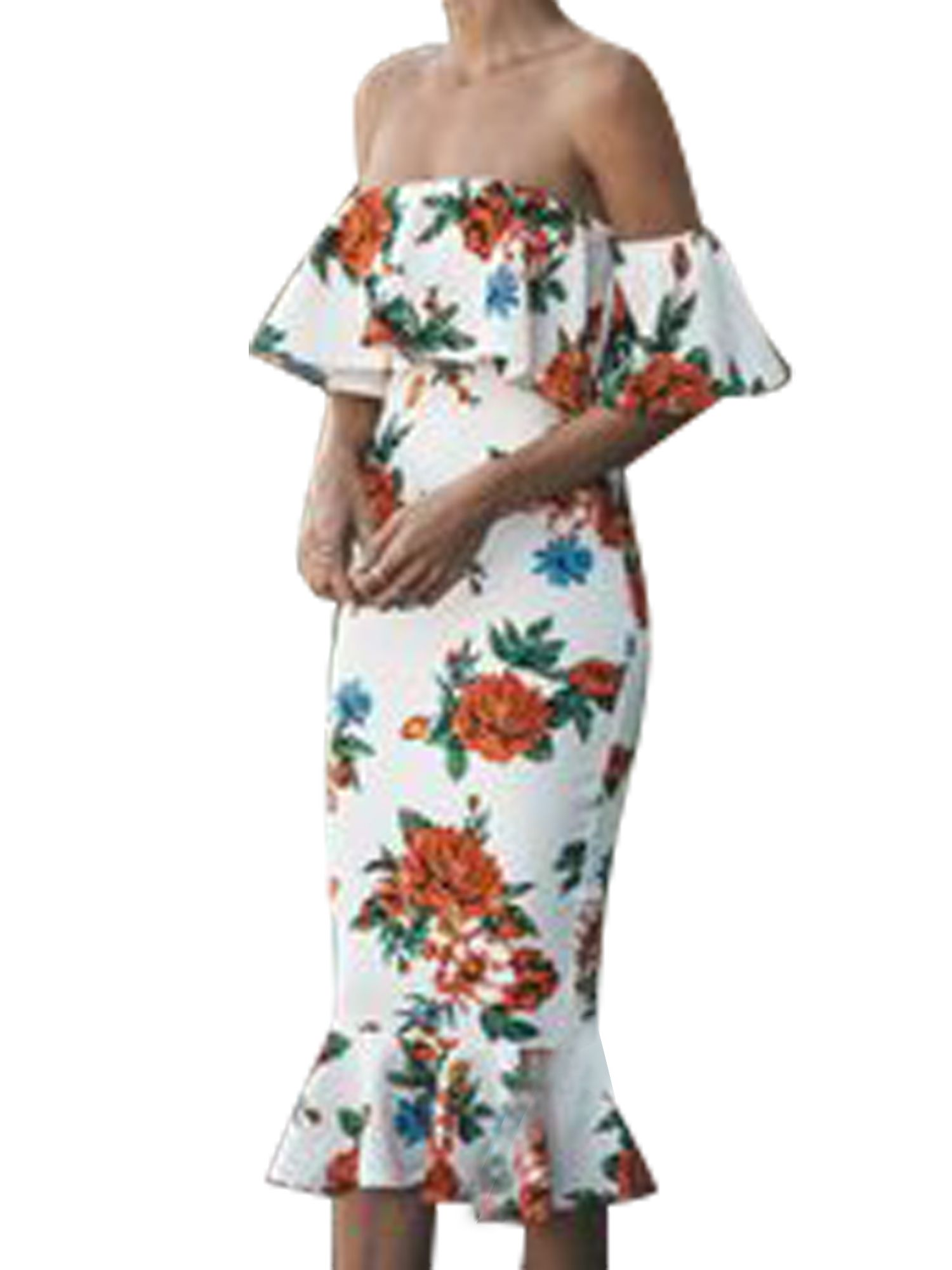 Sexy Dance - Floral Bodycon Dresses Women Ruffles Short Sleeve Long Midi Formal Cocktail Evening Party Off Shoulder Backless Dress - Walmart.com #shortbacklessdress
