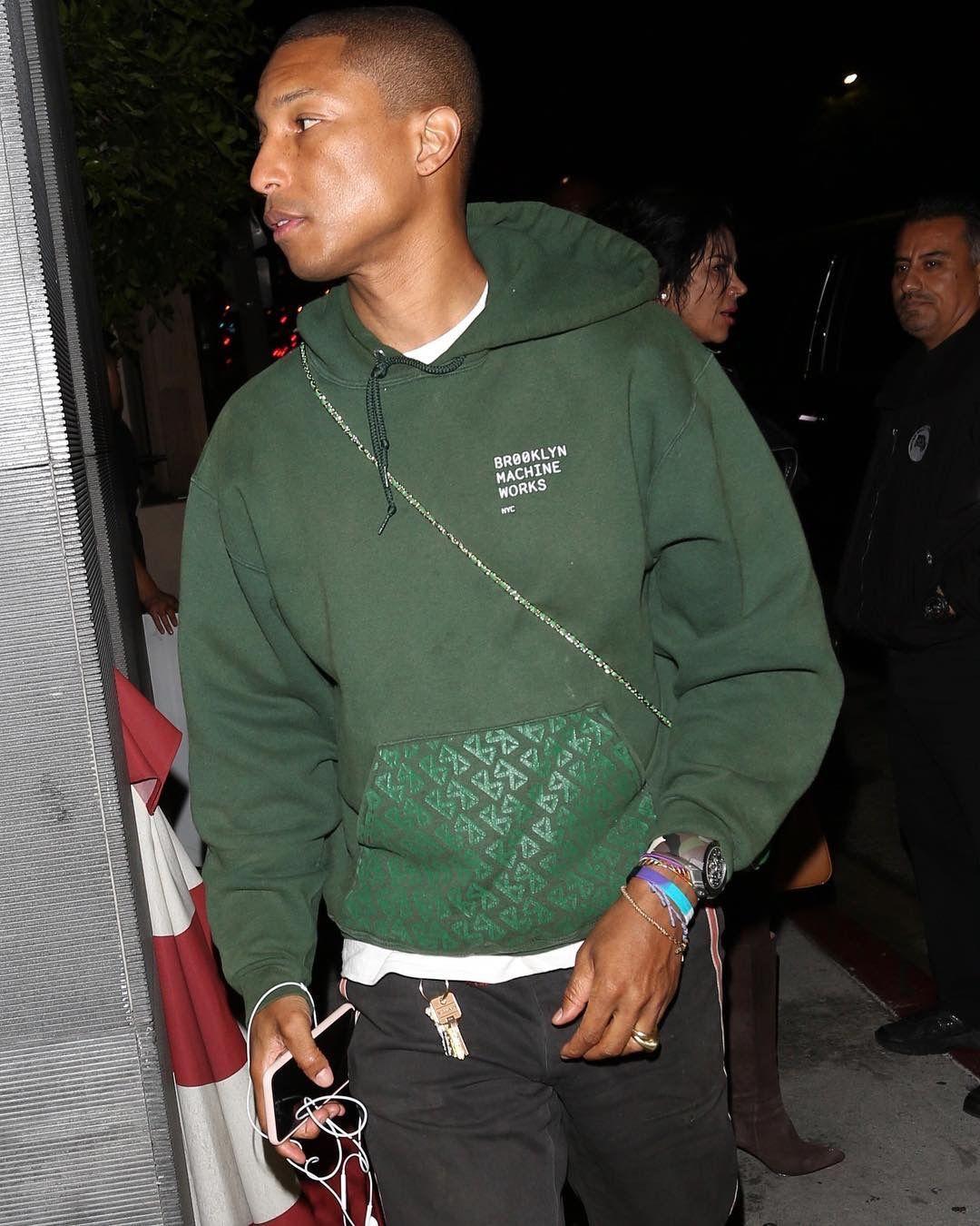4c50c7834 Pharrell Wears a Brooklyn Machine Works Hoodie and Chanel Case ...