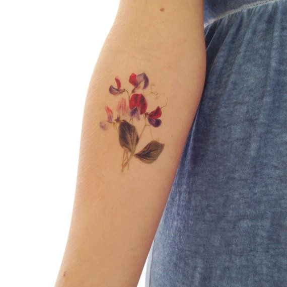 vintage floral temporary tattoo sweet pea by stayathomegypsyshop just things i like. Black Bedroom Furniture Sets. Home Design Ideas