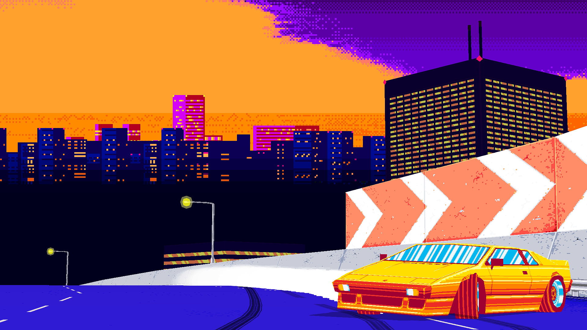 Abstract Highway Pixel Art 1920x1080 R Wallpapers Sunset City Pixel Art Wallpaper