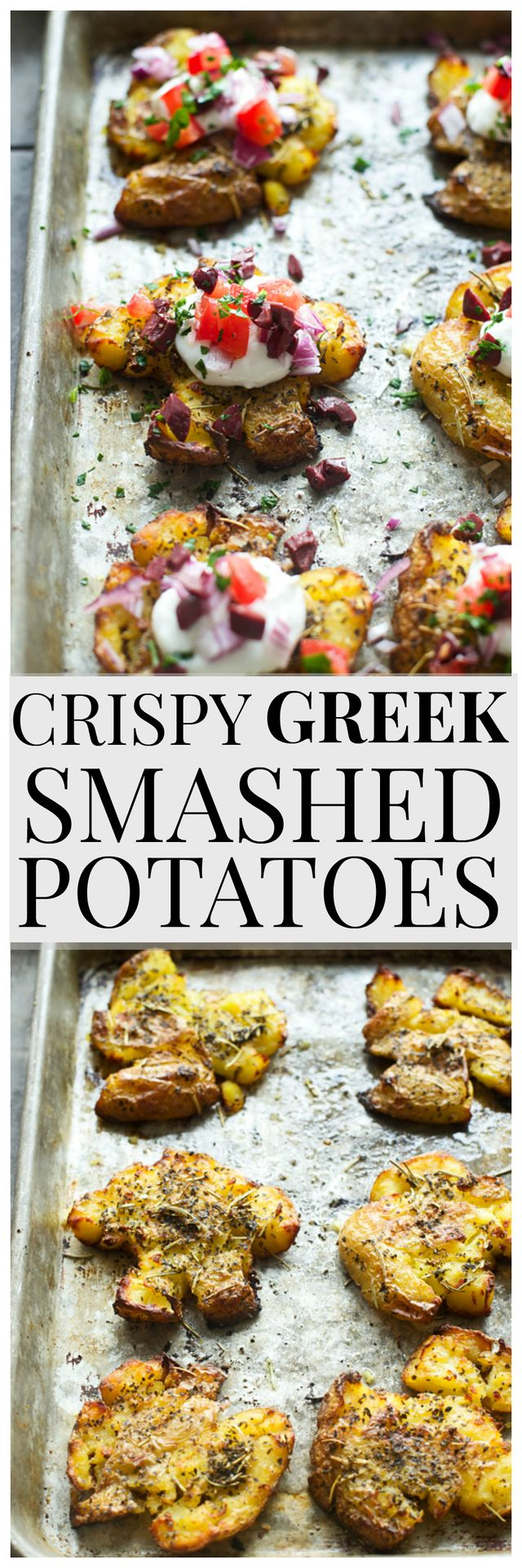 These Crispy Greek Smashed Potatoes are easy to make, so delicious and the perfect small bite to serve at a party. The crispy potatoes are topped with a lemon, garlic Greek yogurt, chopped kalamata ol