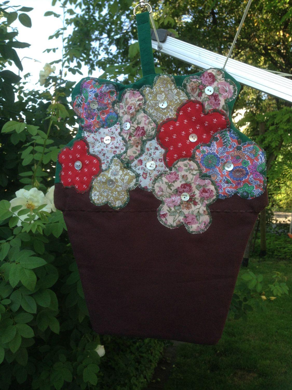 Flower Pot Clothespin Bag, Flower Peg Bag, laundry bag, Appliqué bag ...