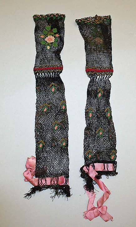 Mitts, 1840-59, American or European, silk and cotton, The Metropolitan Museum of Art.