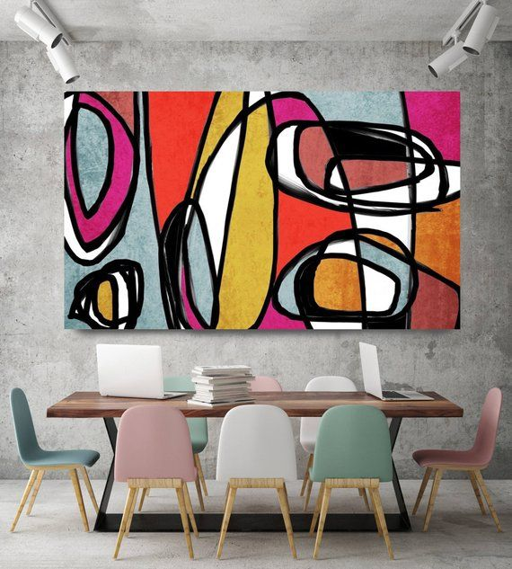 Vibrant Colorful Abstract-0-43. Mid-Century Modern Red Yellow Canvas Art Print, Mid Century Modern Canvas Art Print up to 72 by Irena Orlov