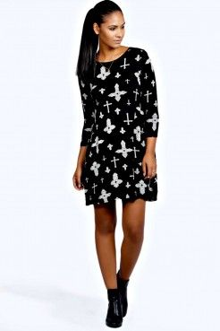 Sabrina Cross Print Swing Dress Dresses Clothing