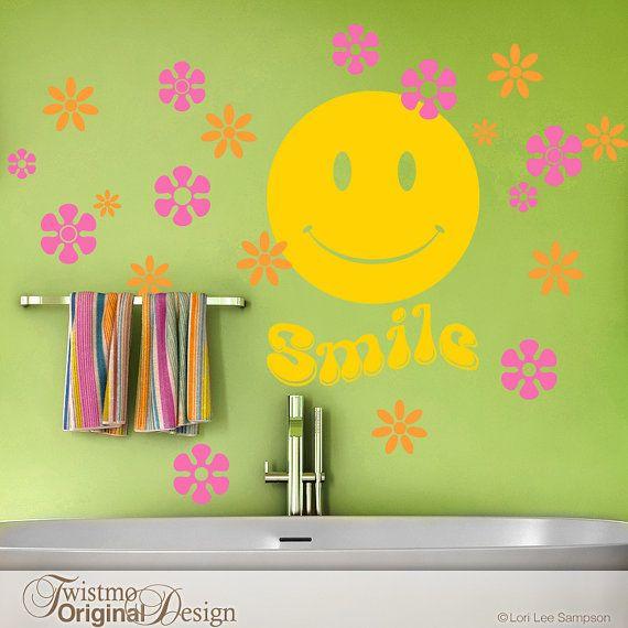 Bathroom Wall Decals, Hippie Decor, Retro Smiley Face with Hippie ...