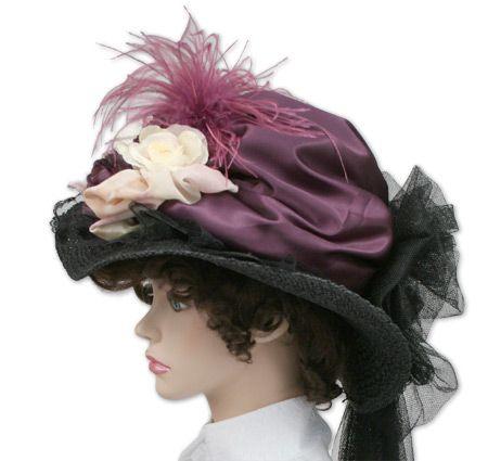 120224693b4 1800s Ladies Purple Straw