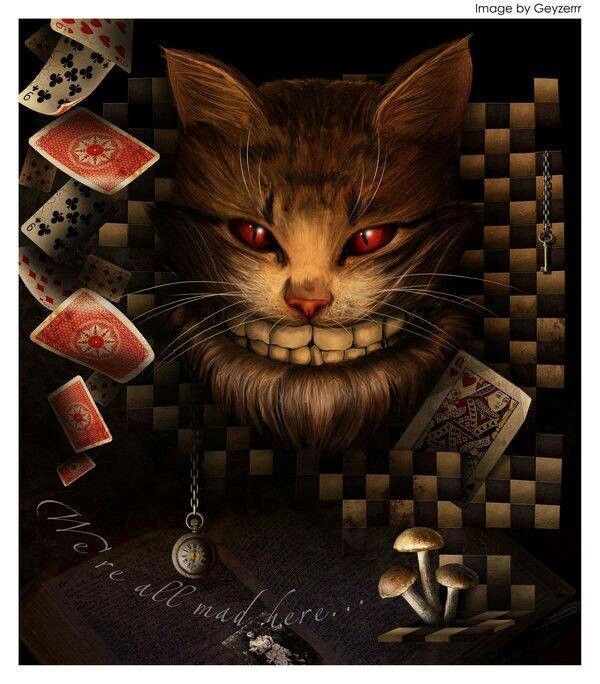 evil looking cheshire cat from alice in wonderland