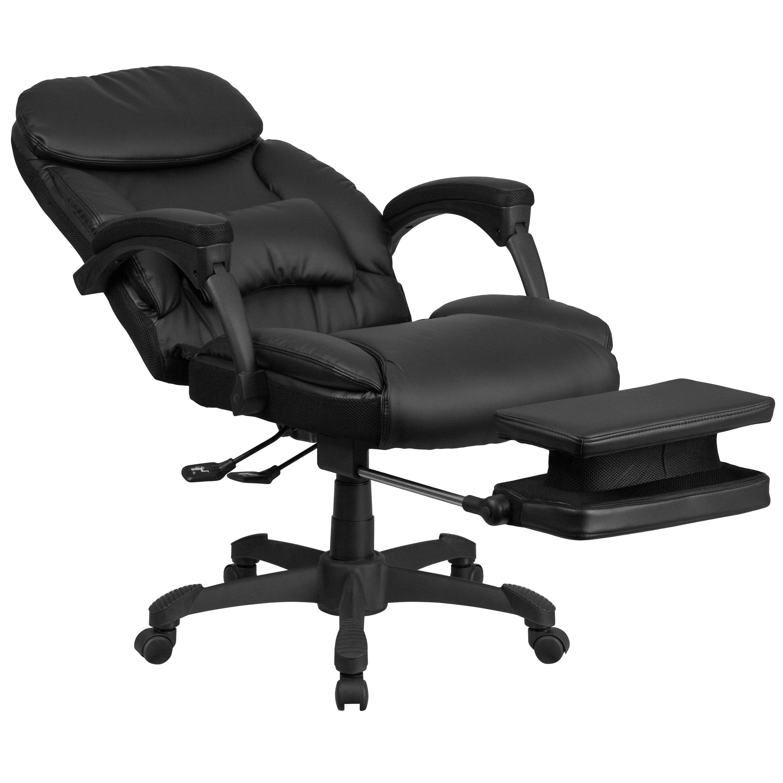 Multifunction black leather high back executive reclining swivel