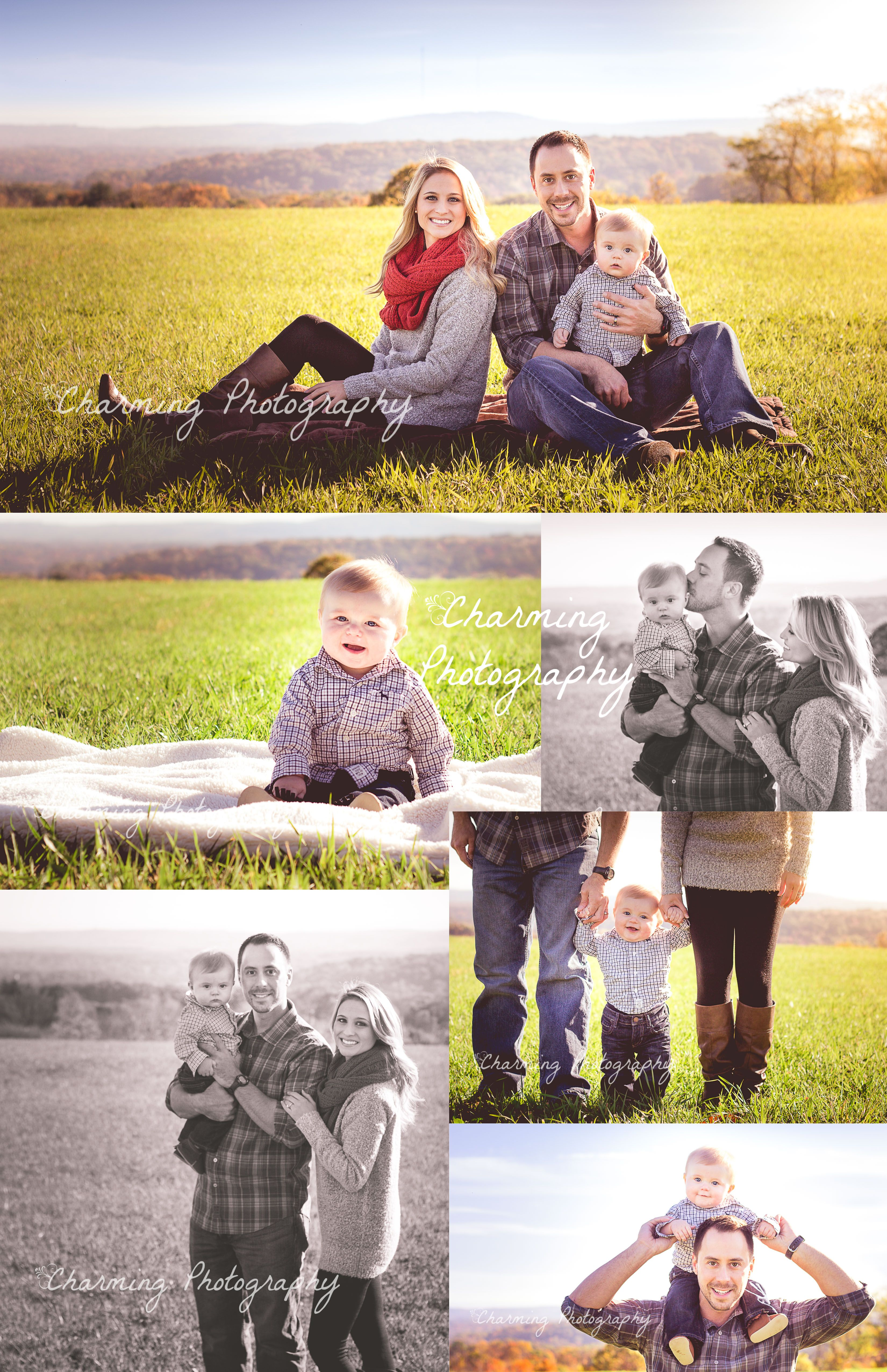 Family of three photography session, 6 month old baby portraits. What to wear for family photoshoot. Posing ideas. #fallcolors