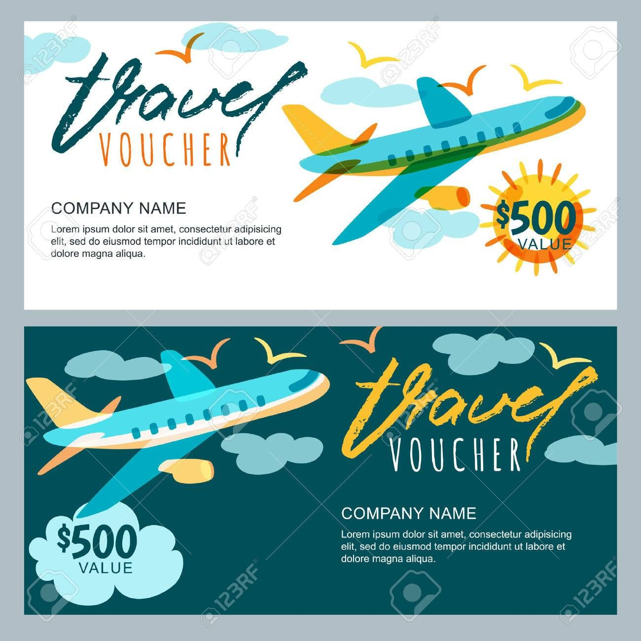 Vector Gift Travel Voucher Template Multicolor Flying With Free