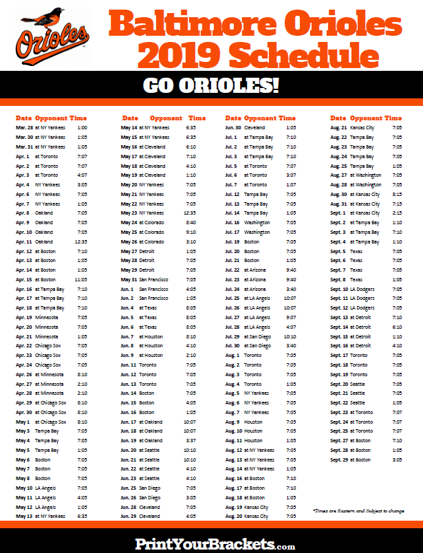 picture relating to Printable Giants Schedule titled Printable 2019 Baltimore Orioles Plan Printable MLB