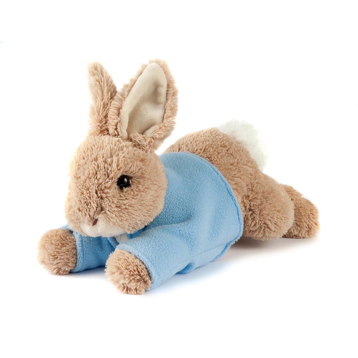 Plush Peter Rabbit. A delightful new plush toy featuring a much loved character from the Beatrix Potter books, Peter Rabbit. This captivating plaything is made by Gund - world renowned for it's top quality, soft and huggable plush toys - and is hand washable. Measuring 12' (30cms) from nose to tail, Peter will become a lovely companion for any child aged 1+.
