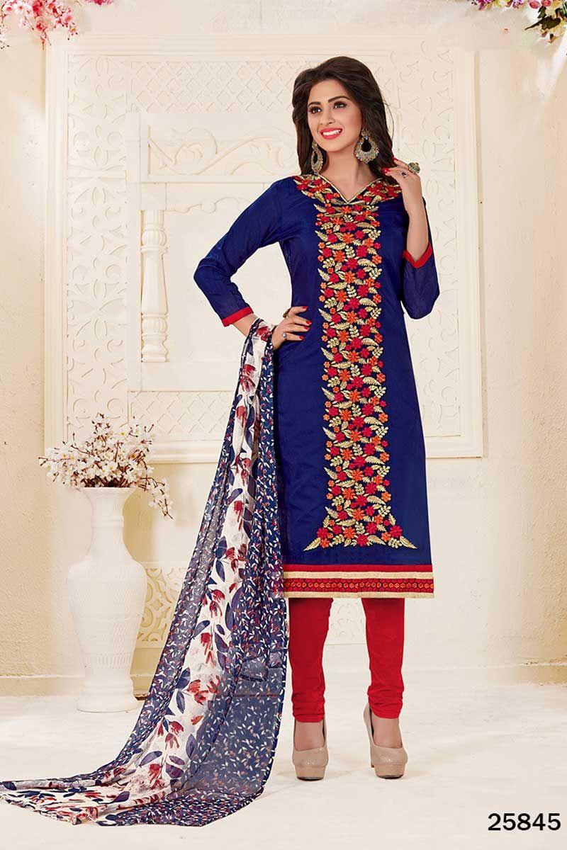 914cd9248d Navy-Blue-Embroidery-Work-Chanderi-Long-Sleeve-Salwar-Kameez-Material-With-Churidar-Bottom  Catalog No : 4136 WWW.LKFABKART.