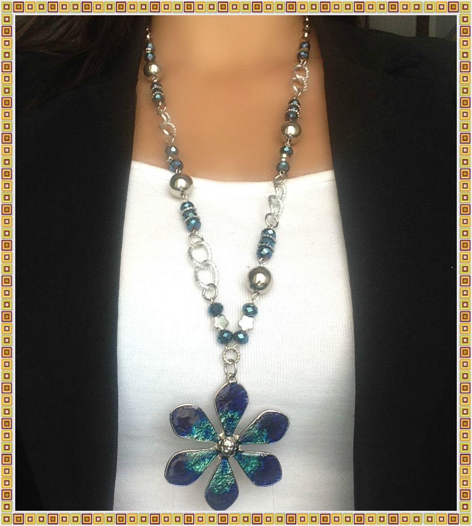 ba96c19dd87c Collar Largo y Aretes con Dije de Flor Azul-Verde