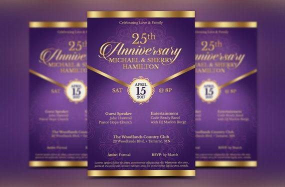 wedding anniversary gala flyer photoshop template is for