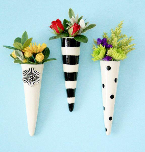 Blackwhite Pixie Ceramic Wall Vases 2200 Each Home Dec