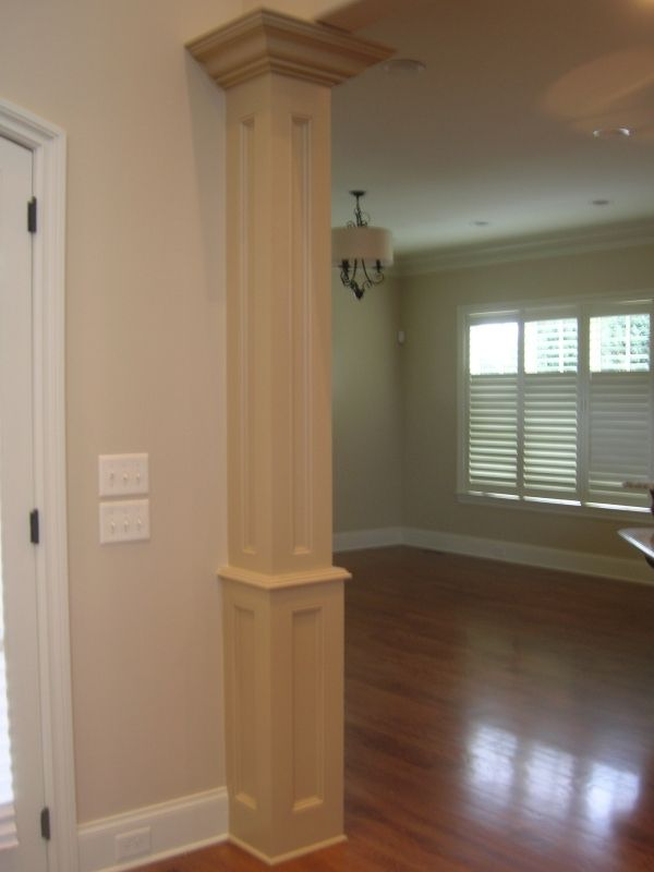 Column ideas trim millwork interior columns baseboard - Pictures of columns in living room ...