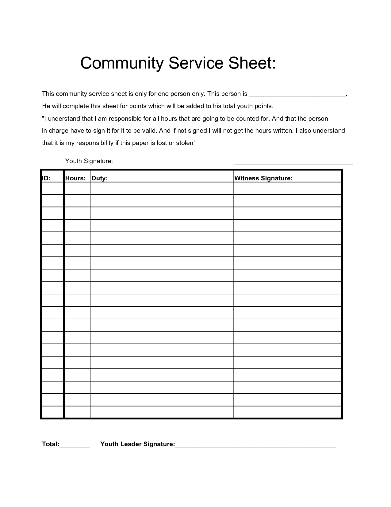 Community Service Hours Sheet | Projects to Try | Pinterest ...