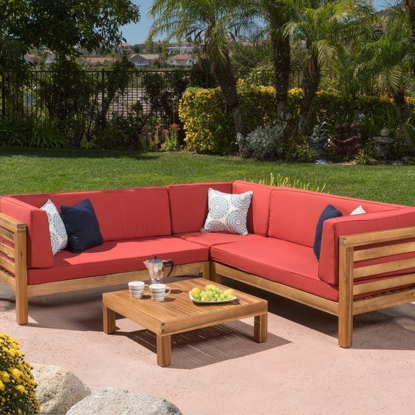 Oana Outdoor 4-Piece Acacia Wood Sectional Sofa Set with Cushions by Christopher Knight Home (Beige), Patio Furniture