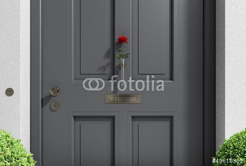 willkommen haust r grau mit rose stockfotos und. Black Bedroom Furniture Sets. Home Design Ideas